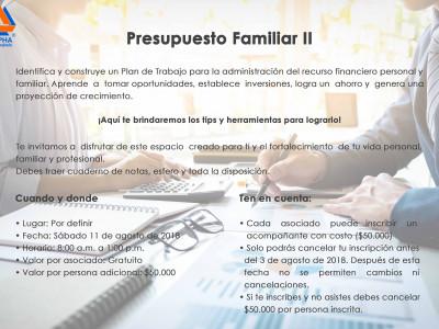 """Seminario Vivencial """"Presupuesto Familiar II"""